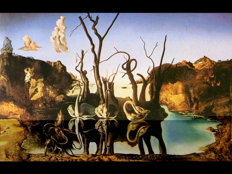 Salvador Dali - Cygnes reflechis en elephants